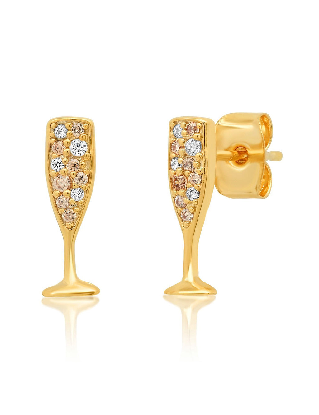 Pave Champagne Glass Studs in Gold