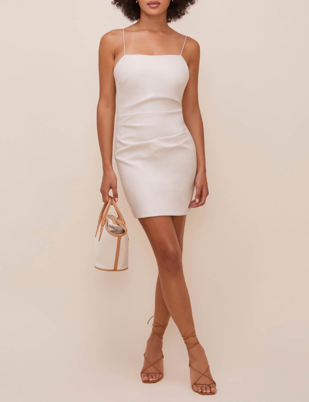 Leatherette Dress in Sand