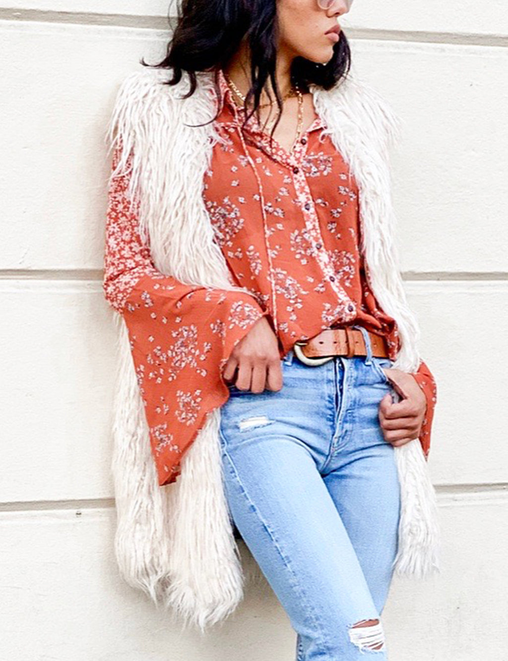 Free People Serena Printed Blouse in Rust