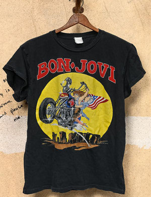 Madeworn Bon Jovi Born To Ride Crew Tee in Coal Pigment