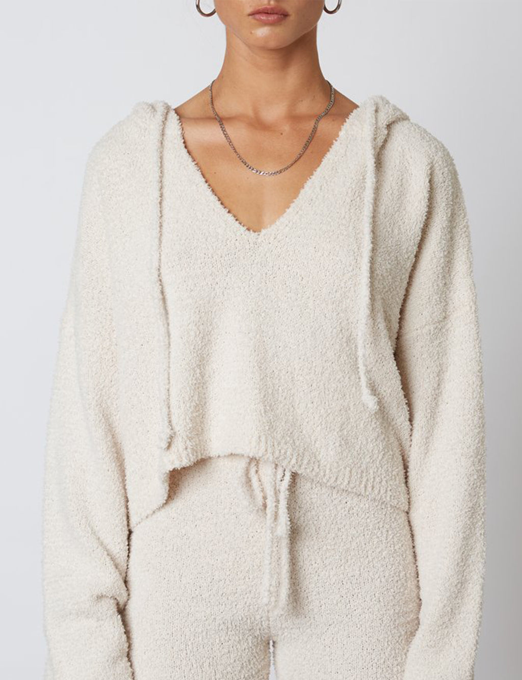 Notched Hooded Sweater in Natural