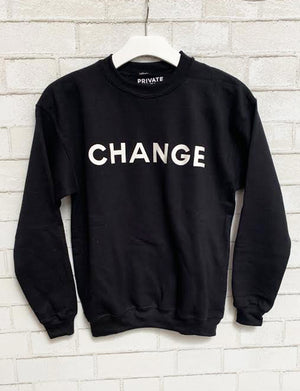 "Private Party ""Change"" Sweatshirt, Black/White"