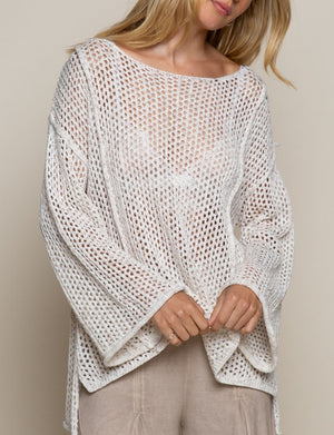 Pol Clothing Mesh Sweater in Almond