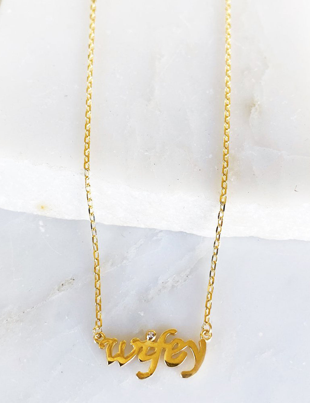 "CZ ""Wifey"" Necklace in Gold"