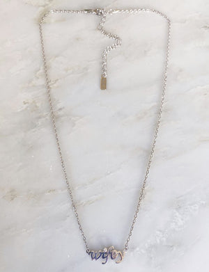 "CZ ""Wifey"" Necklace in Silver"