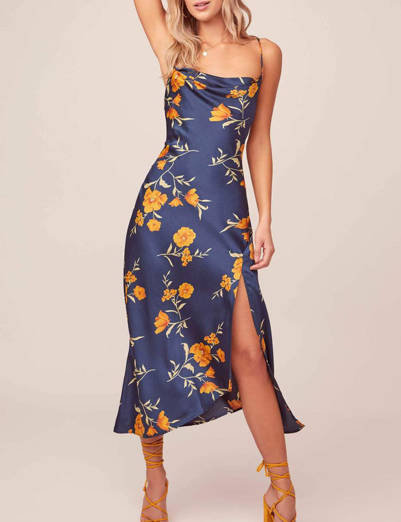 Gaia Dress in Dark Teal Floral