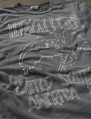 Led Zeppelin USA 1977 Crew Tee in Charcoal Grey