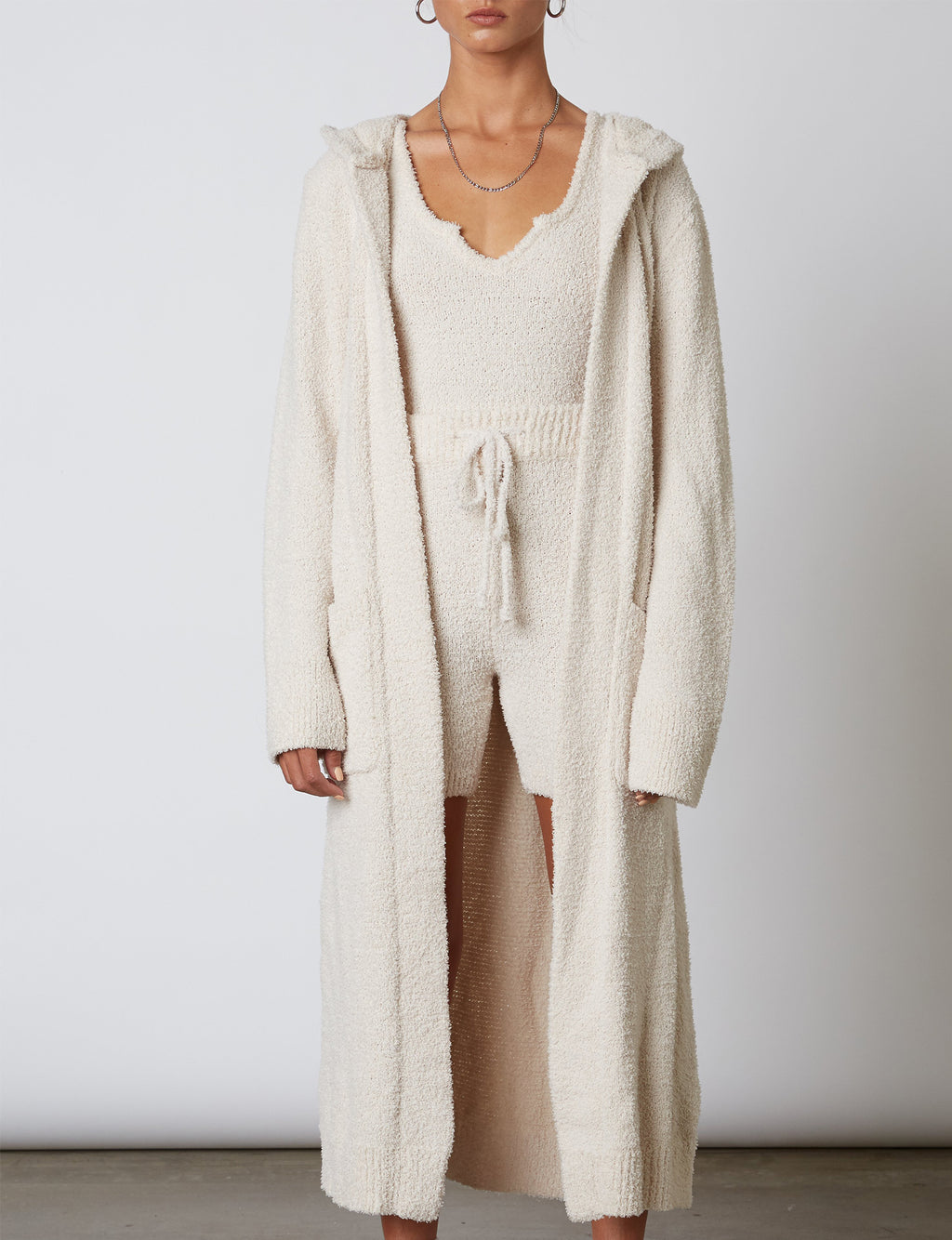 Hooded Duster Cardigan in Natural