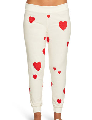 Cozy Knit Heart Print Slouchy Jogger in Cream/Red