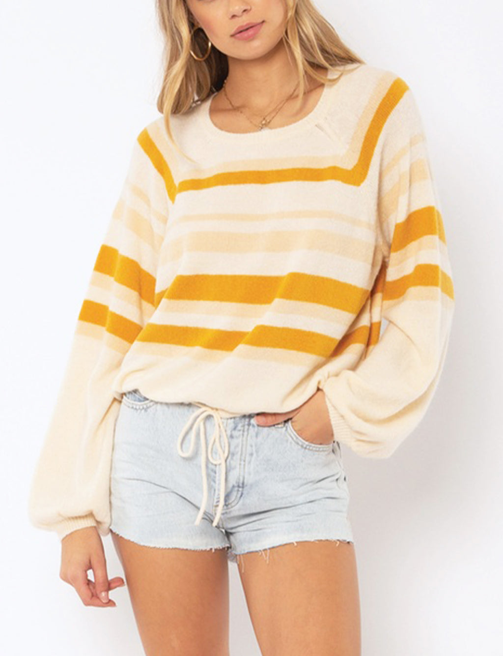 Amuse Society Terra L/S Knit Sweater in Off White Stripe