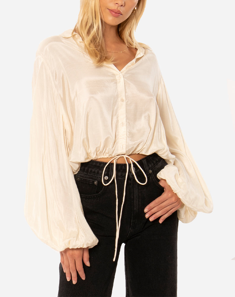 Camellia Long Sleeve Woven Blouse in Off White