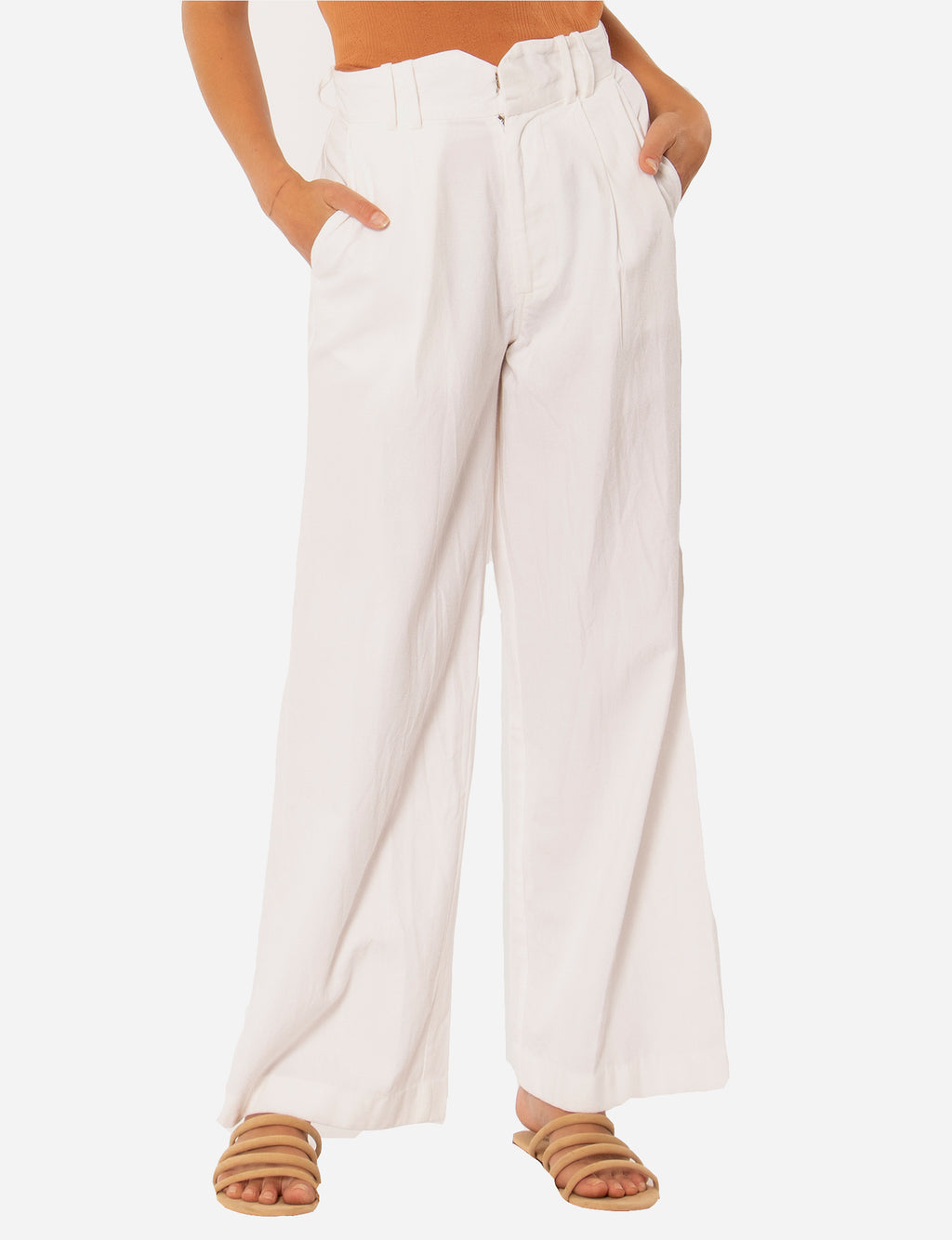 Angelica Woven Pant in White