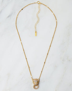 Pantera Pave Necklace with Panther Charm in 18k Gold Plated