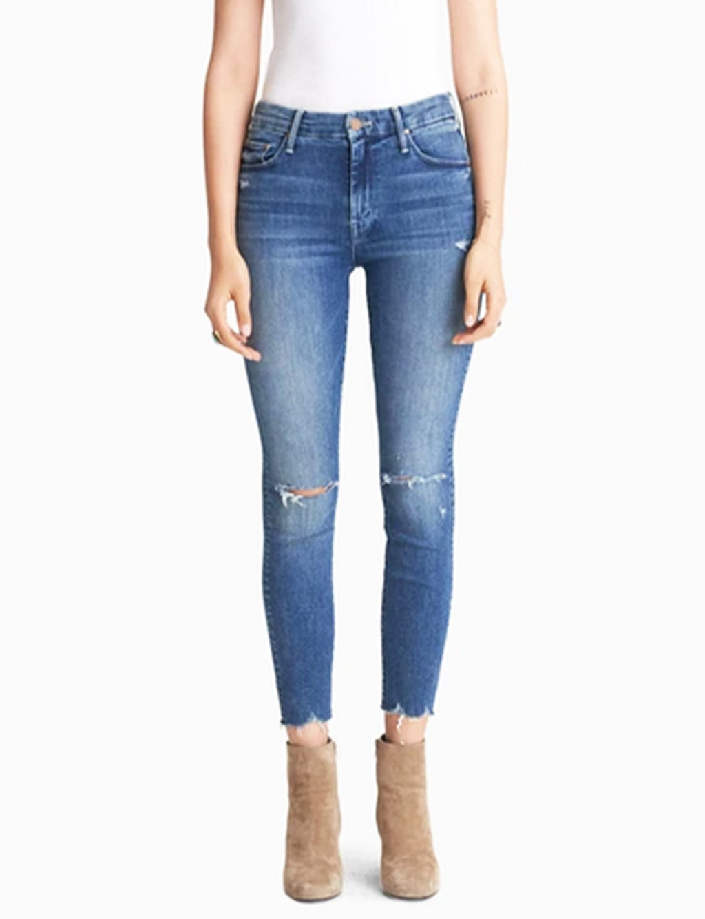 Mother Denim High Waisted Looker Ankle Fray, Get Your Groove Back