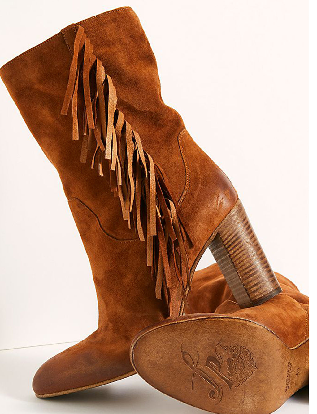 Wild Rose Slouch Fringe Boot in Tan