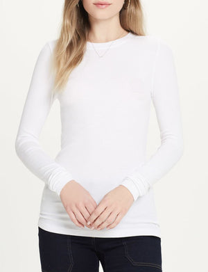 Long Sleeve Rib Crew in White