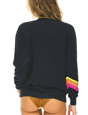 Aviator Nation Bolt Stitch Chevron Crew Sweatshirt in Charcoal/Neon