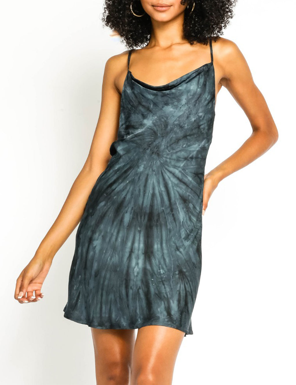 Tie Dye Cowl Neck Dress in Navy/Black