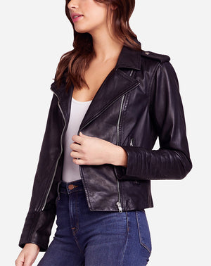 Hello Moto Leather Jacket in Black