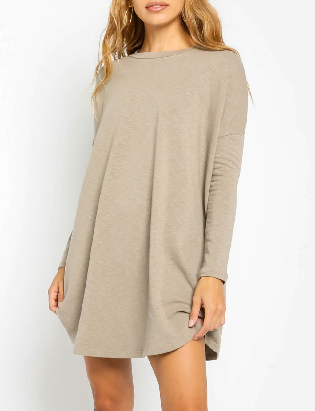 Long Sleeve Tee Shirt Dress in Oyster