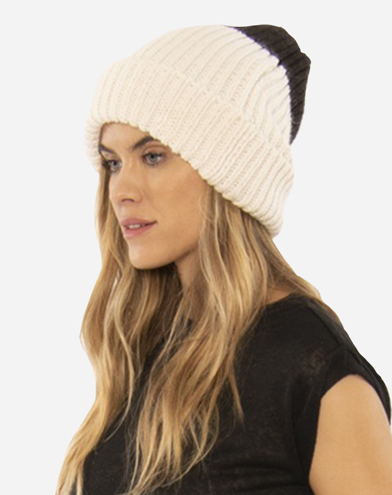 Block Party Knit Beanie in Cream/Black