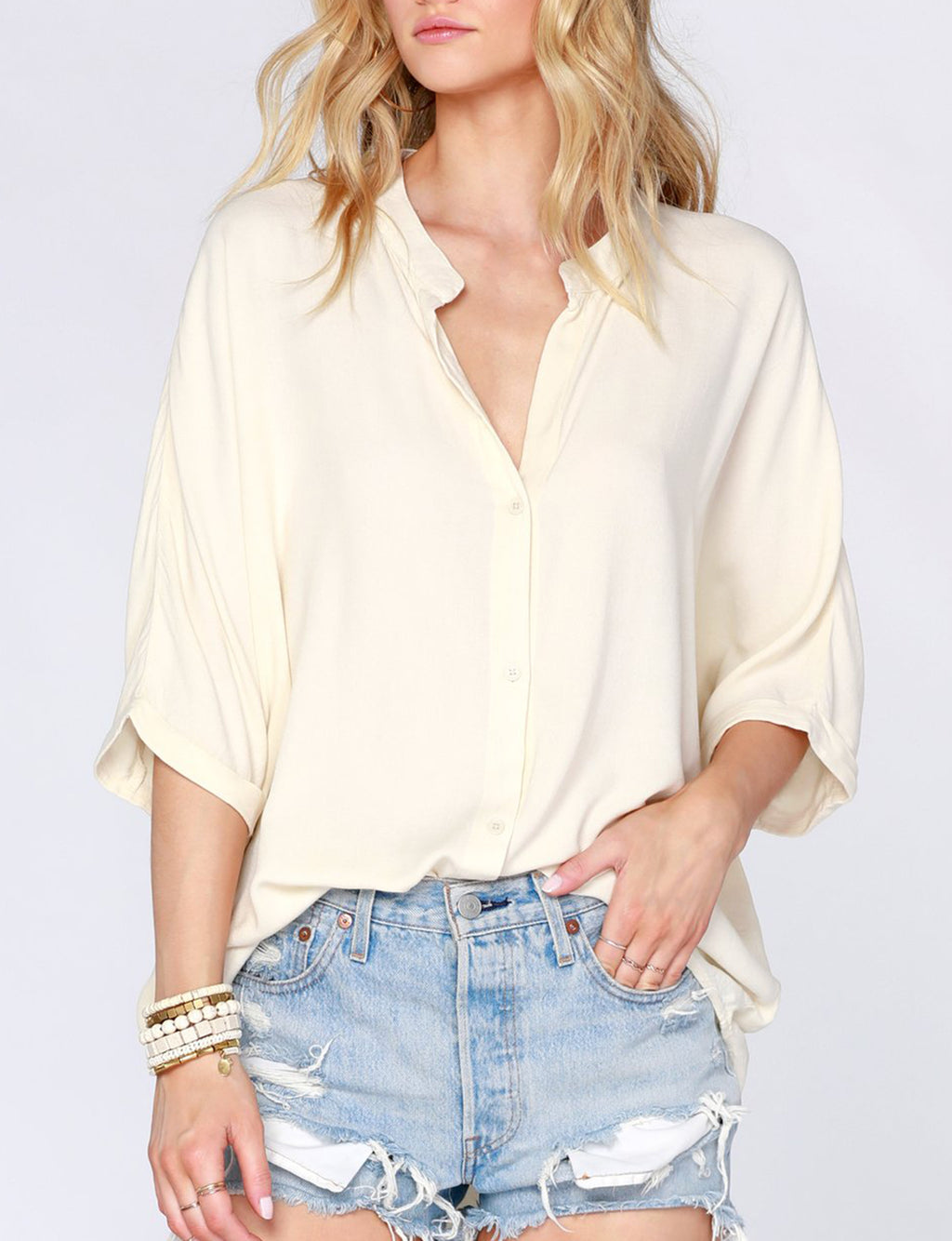 Bobi Dolman S/S Button Up Shirt in Natural