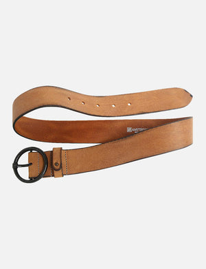 Pip Vintage Round Buckle Leather Belt in Cognac