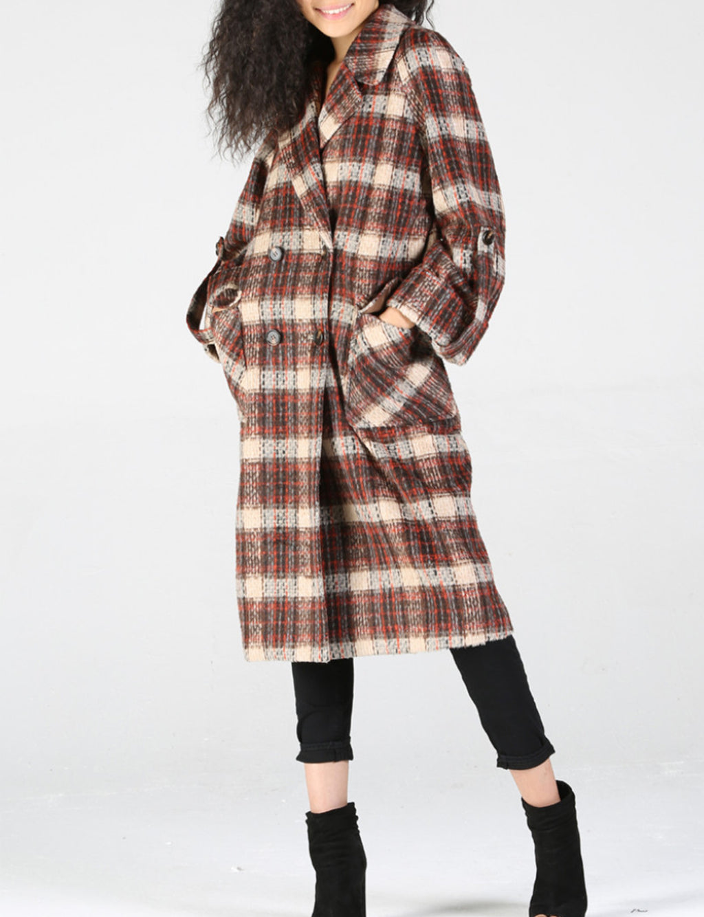 Brushed Plaid Coat in Rust