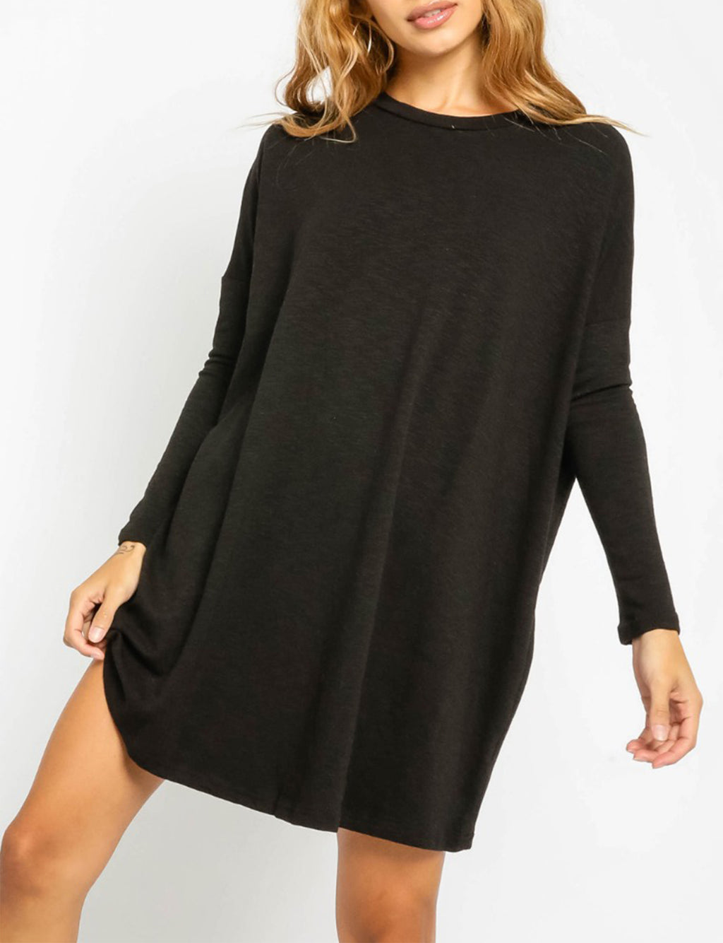 Long Sleeve Tee Shirt Dress in Black