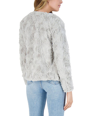 BB Dakota Come Cozy Faux Fur Jacket in Silver Grey