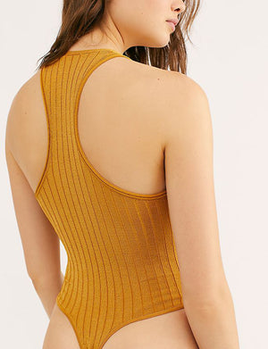 Free People Hot In Halters Bodysuit in Gold