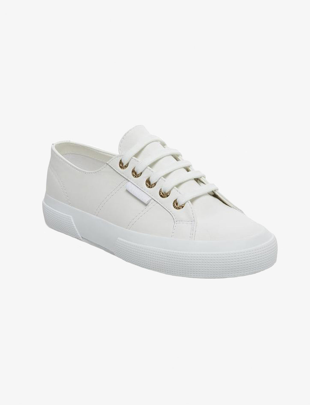 Superga 2750 Nappa Leather Classic Sneaker in White/Gold