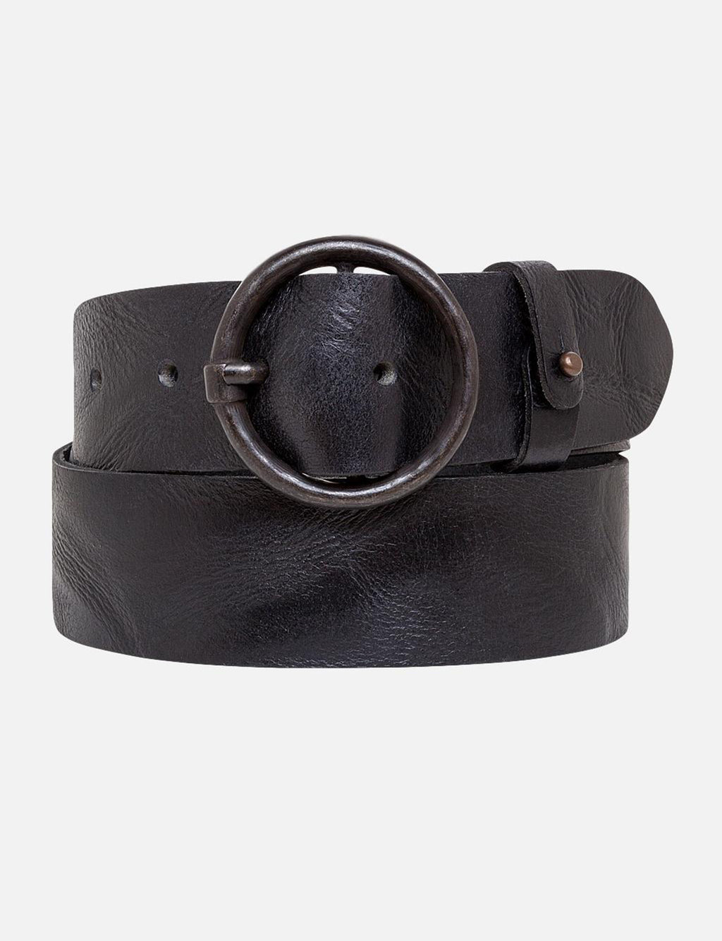 Amsterdam Heritage Pip Vintage Round Buckle Leather Belt in Black