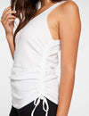 Chaser Ribbed Shirred Sides Double Scoop Tank in White