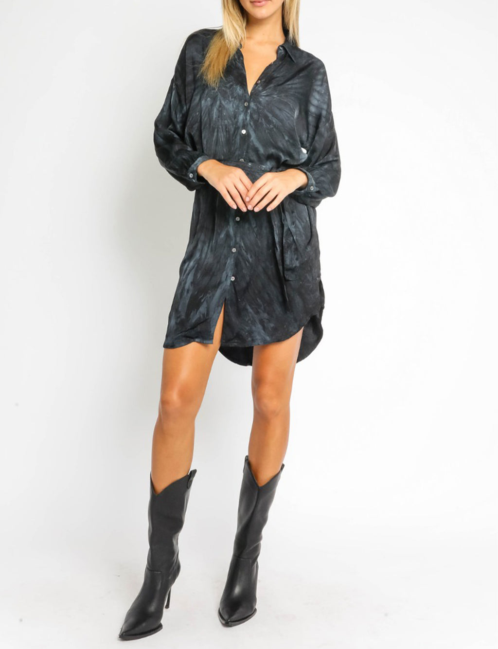 Souce Tie Dye Shirt Dress, Navy/Black