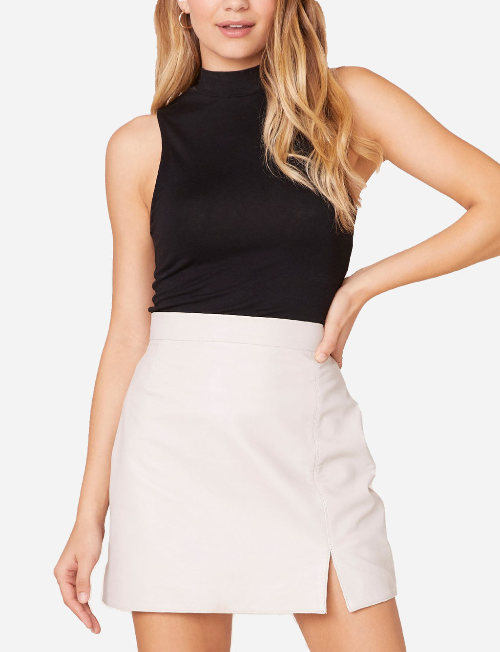 Gimme A Mini Leather Skirt in Bone