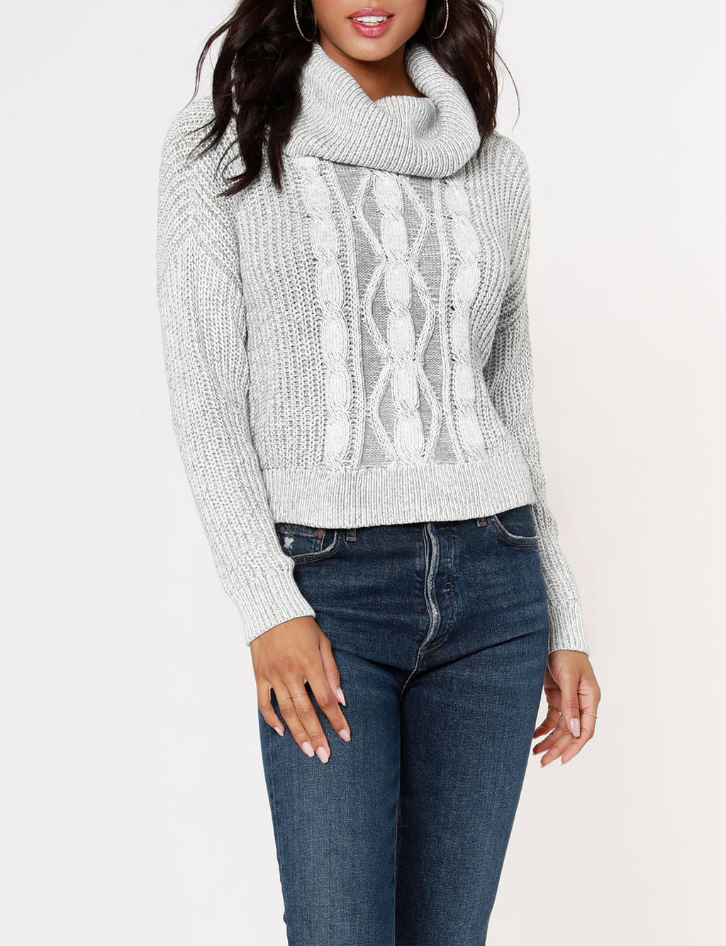 Turtle Neck Cropped Sweater in Ivory/Light Grey