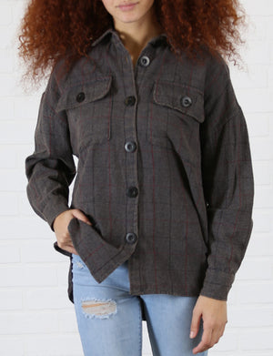 Washed Plaid Button Top in Grey