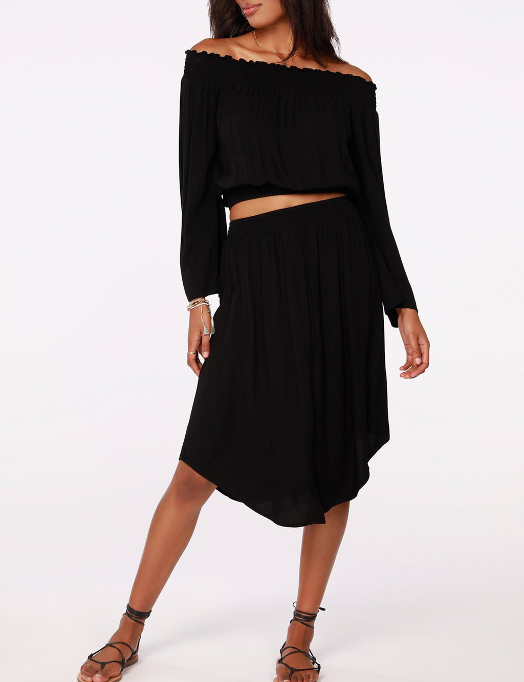 Smocked Waist Skirt in Black