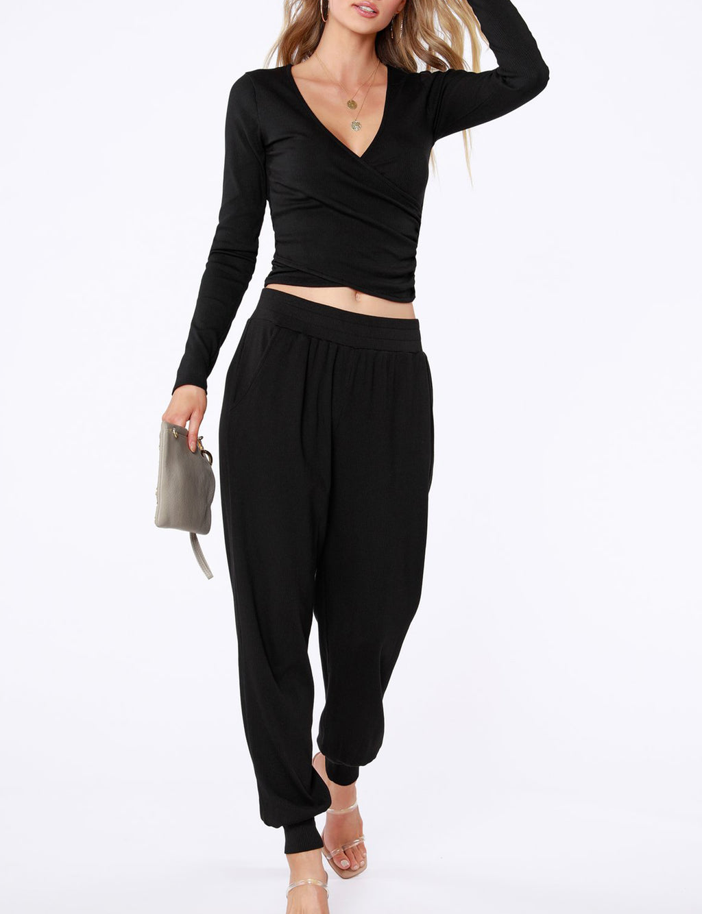 Ribbed Jogger Pant in Black