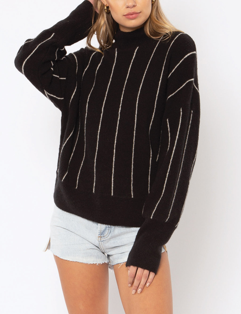 Amuse Society Aline L/S Knit Sweater in Black/Cream Stripe