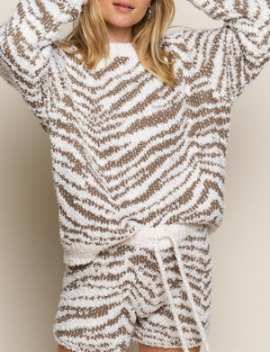 Tiger Print Chenille Pullover in Cream/Dusty Olive