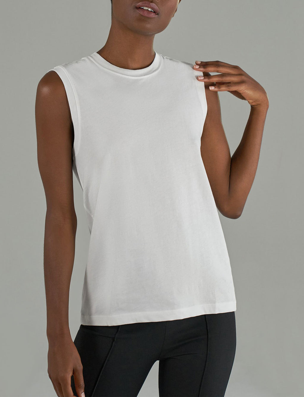 Classic Jersey Sleeveless Boy Tee in White