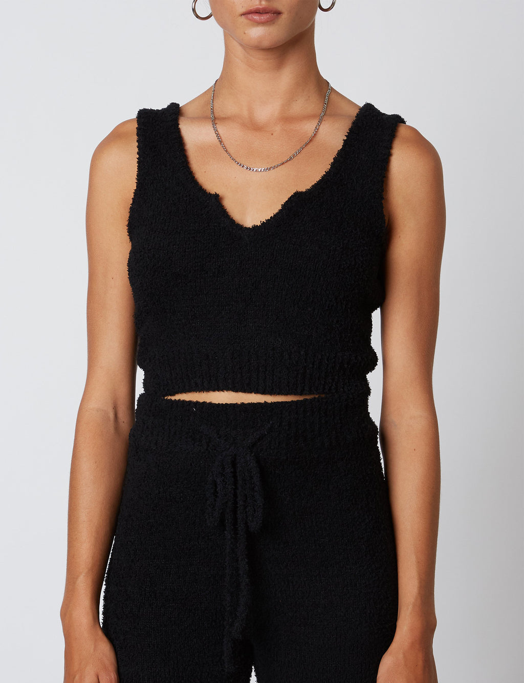 Notched Sweater Tank in Black