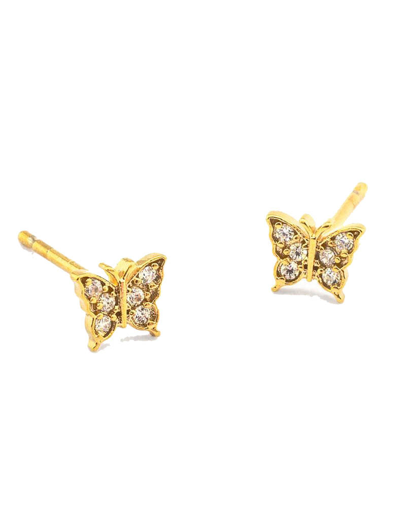 CZ Butterfly Post Earring in Gold