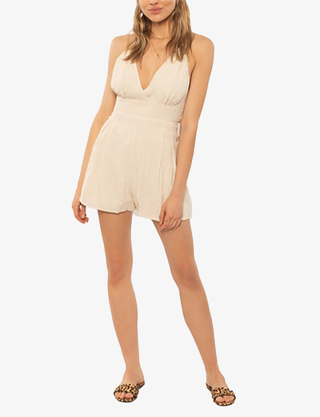 Leila Woven Tank Romper in Off White