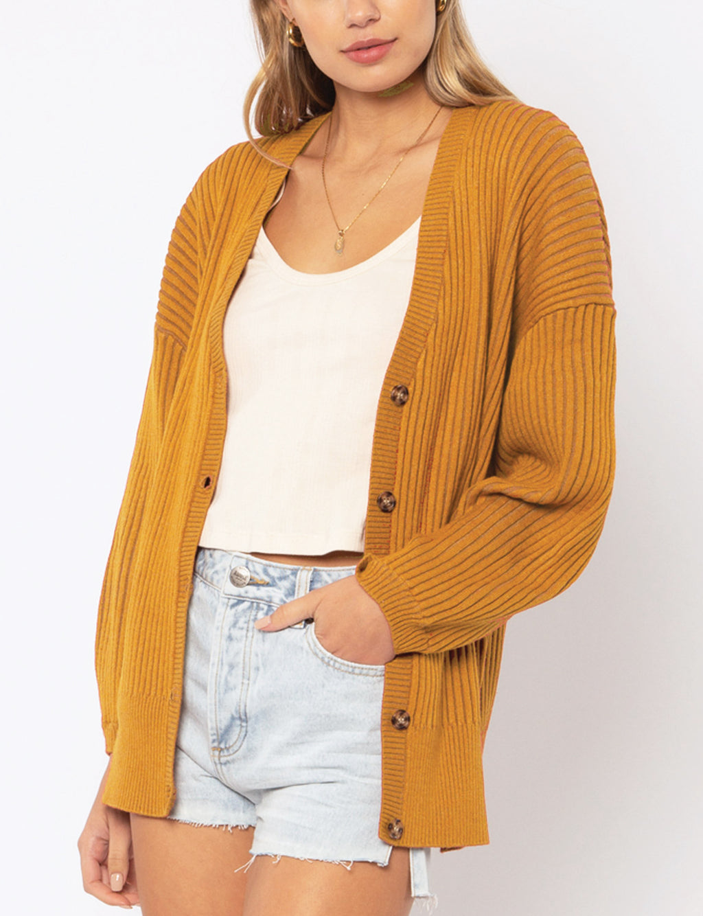 Amuse Society Baya L/S Knit Cardigan in Amber Light