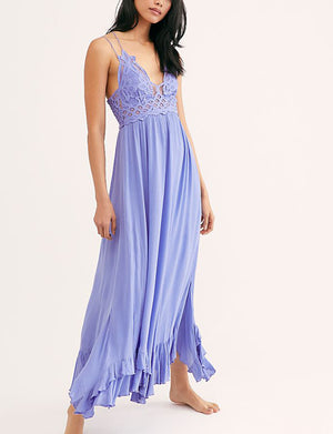 Free People Adella Maxi Slip Dress in Periwinkle
