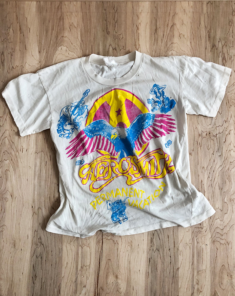 Aerosmith Permanent Vacation Crop Tee in Off White