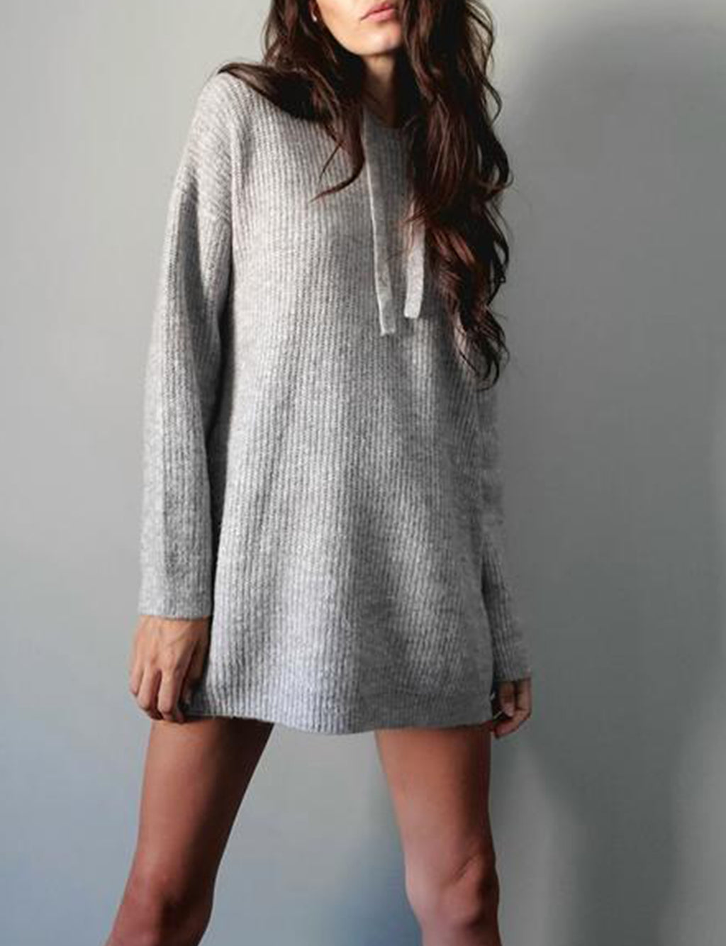 Lila Hooded Sweater in Heather Grey
